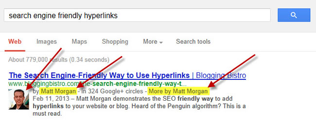 Example of results with Google Authorship