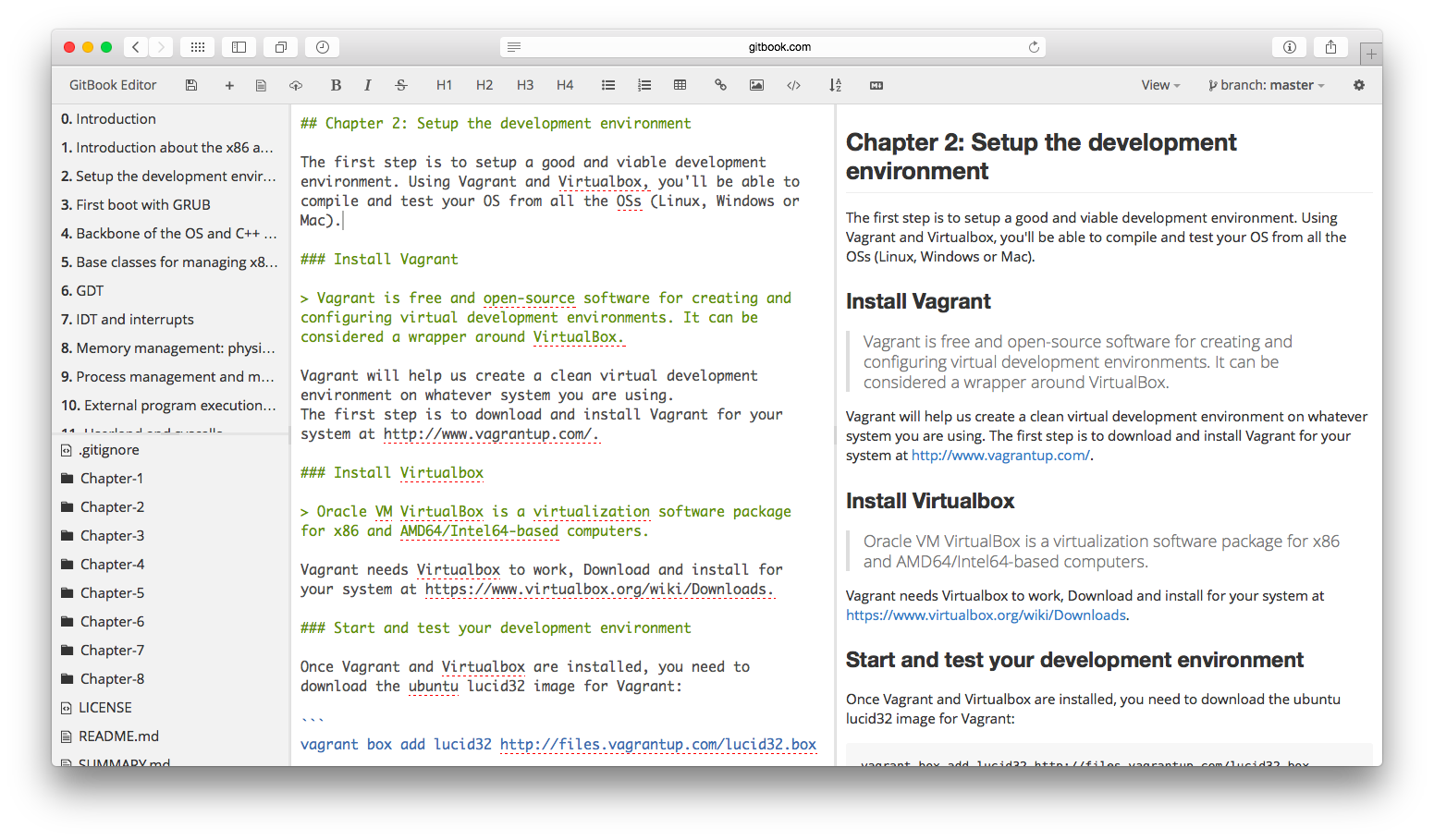 GitBook WebEditor screenshot