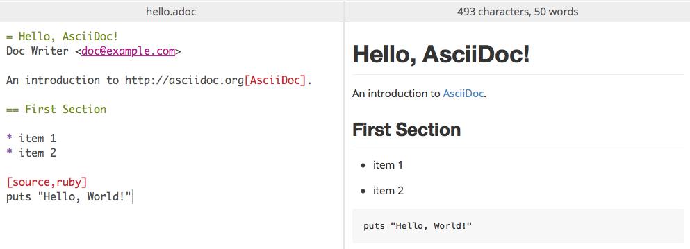 Screenshot of AsciiDoc preview