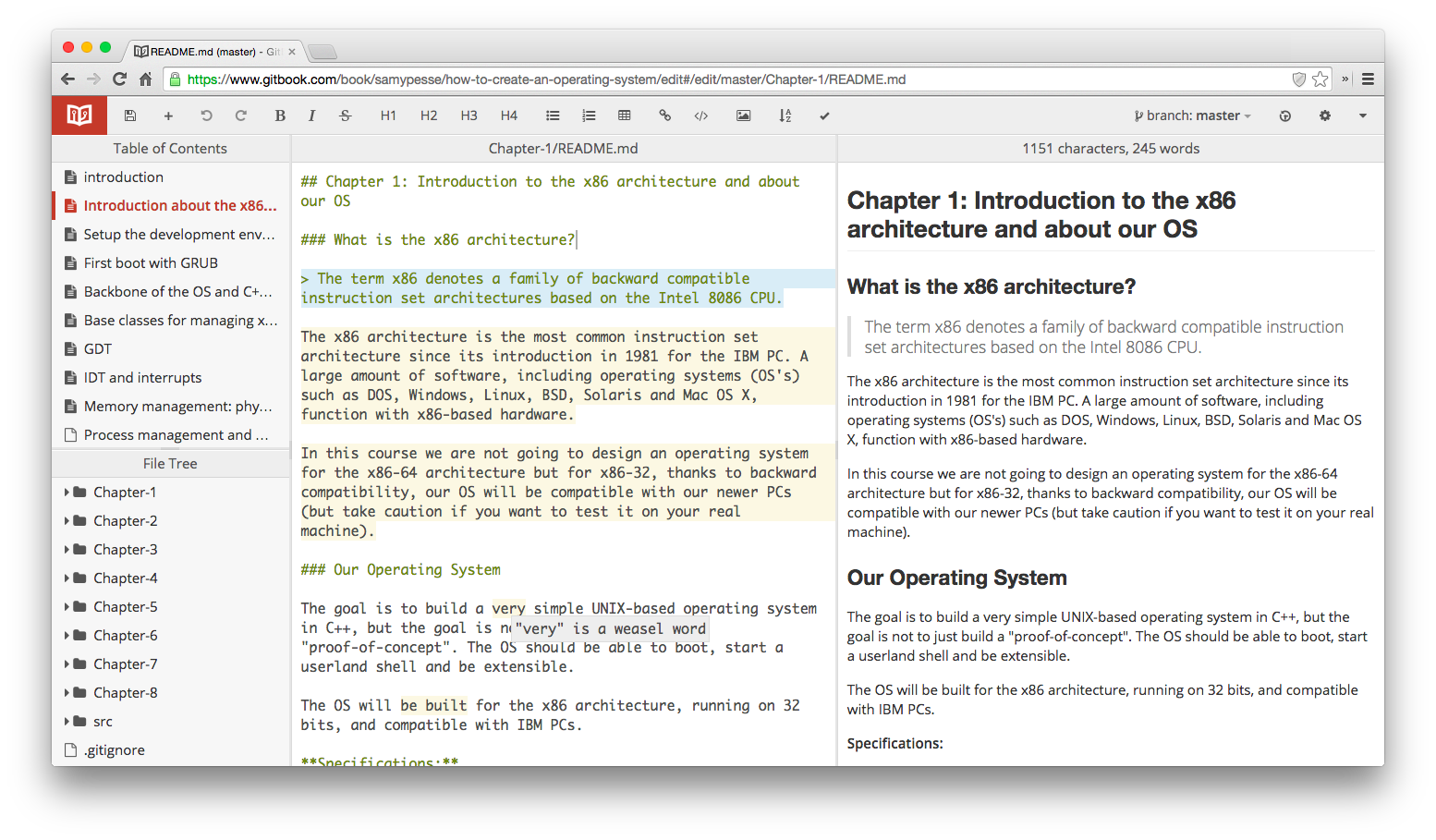 Screenshot of the web-editor
