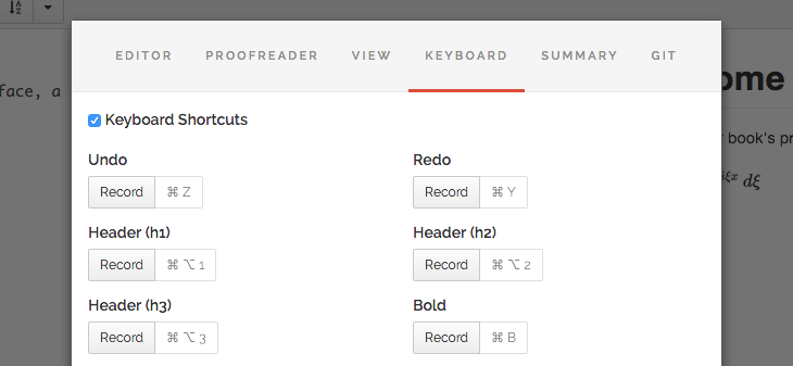 Record keyboard shortcuts