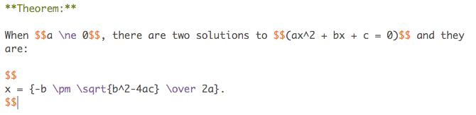 Math in editor